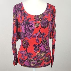 We The Free purple and red floral top size xs